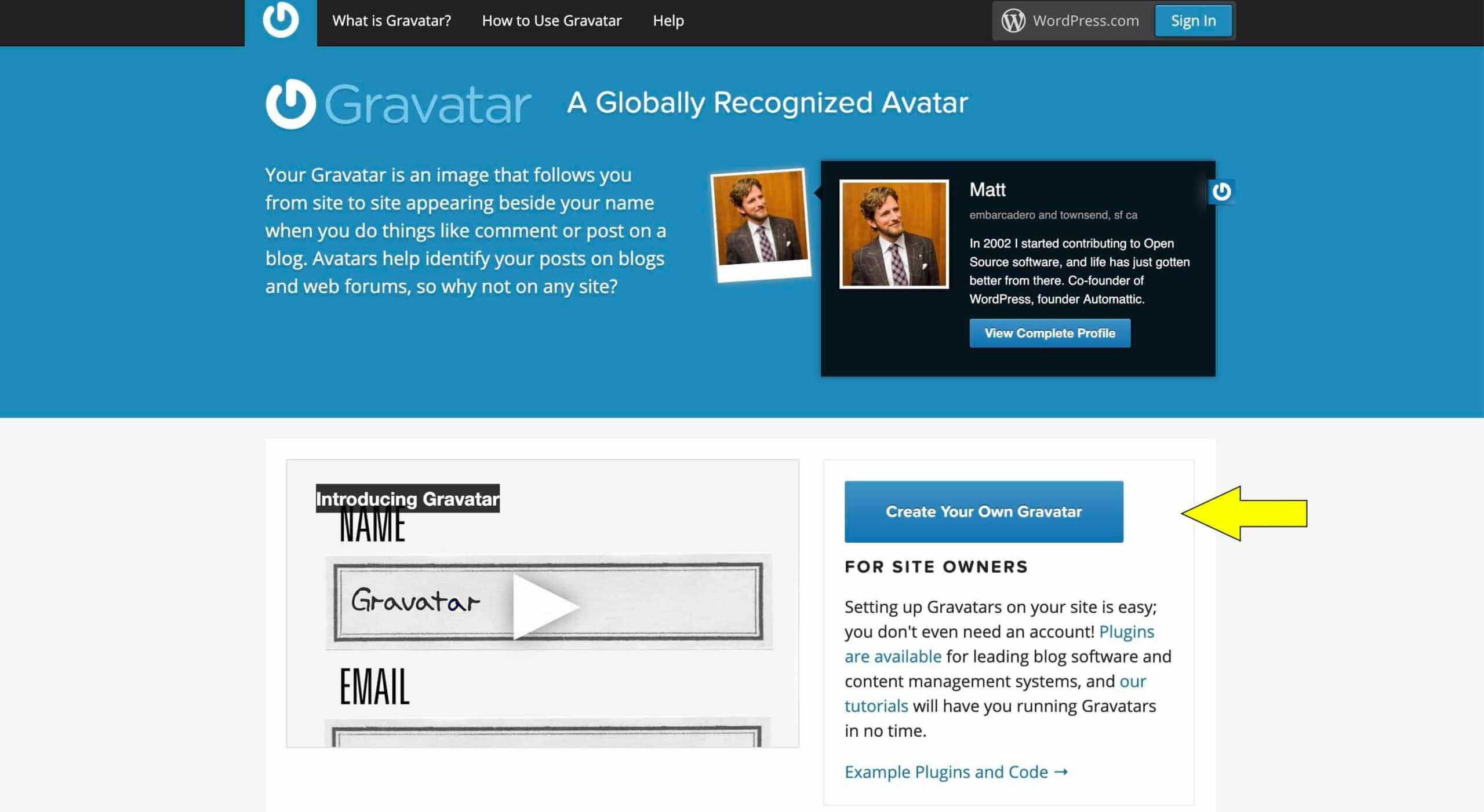 create a gravatar home page