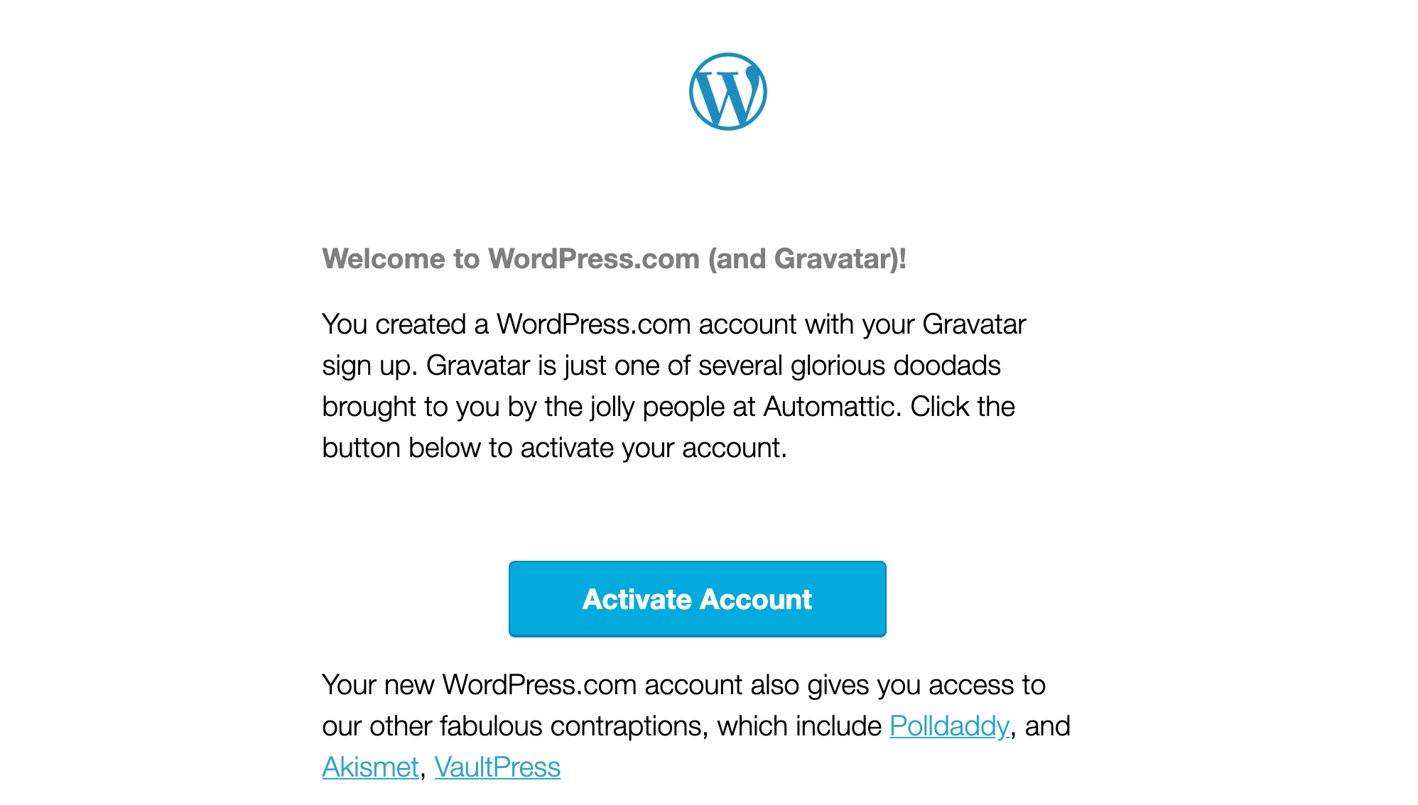 reate gravatar email to activate your wordpress gravatar account