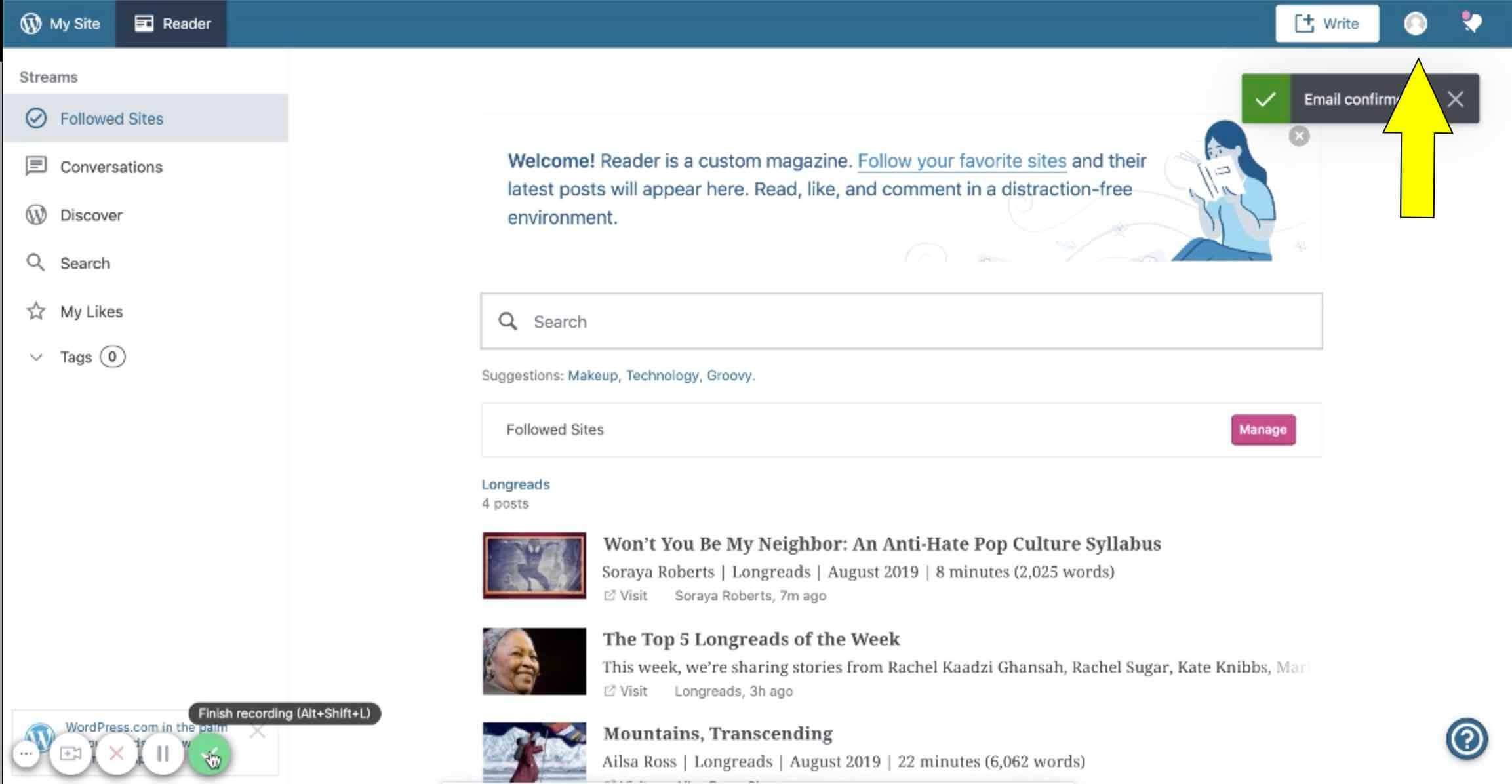 create gravatar wordpress reader page after account activation