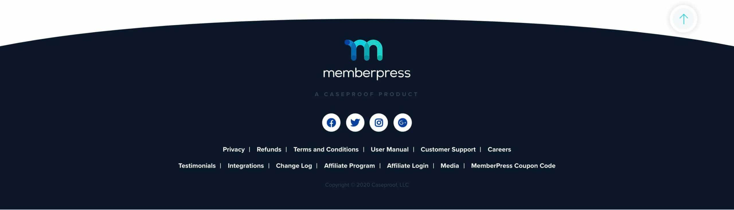 2020 Web Design Trends - Different Shaped Footers - Memberpress footer