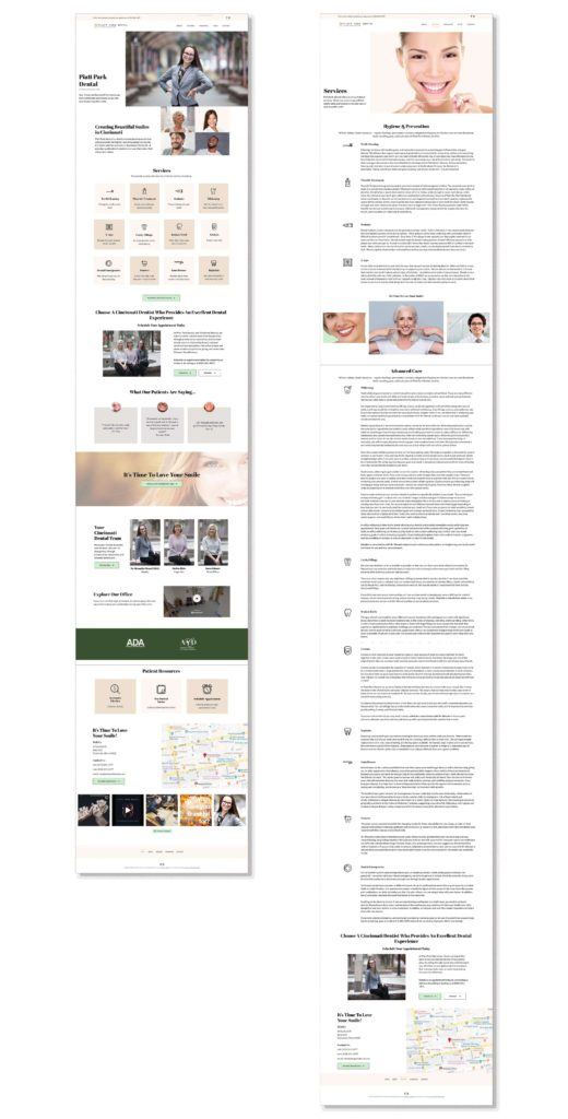 Piatt Park Dental Home and Services Page layouts