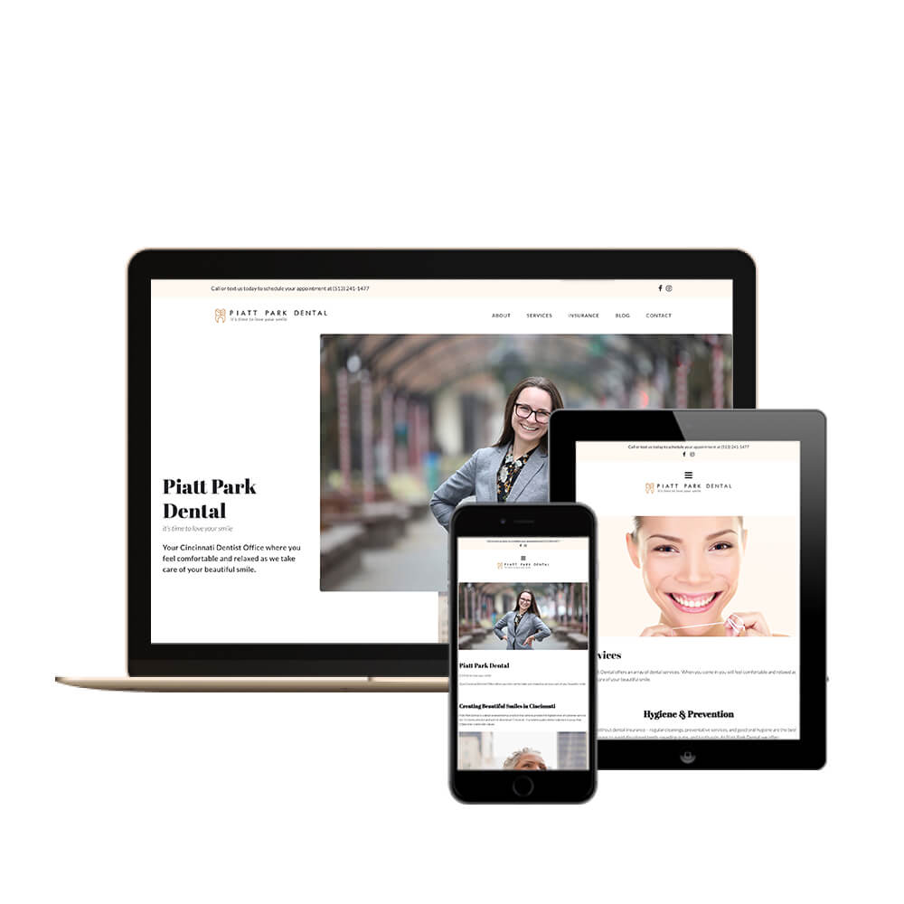Piatt Park Dental Monitor, Tablet, and iphone display - Cincinnati Dental Web Design