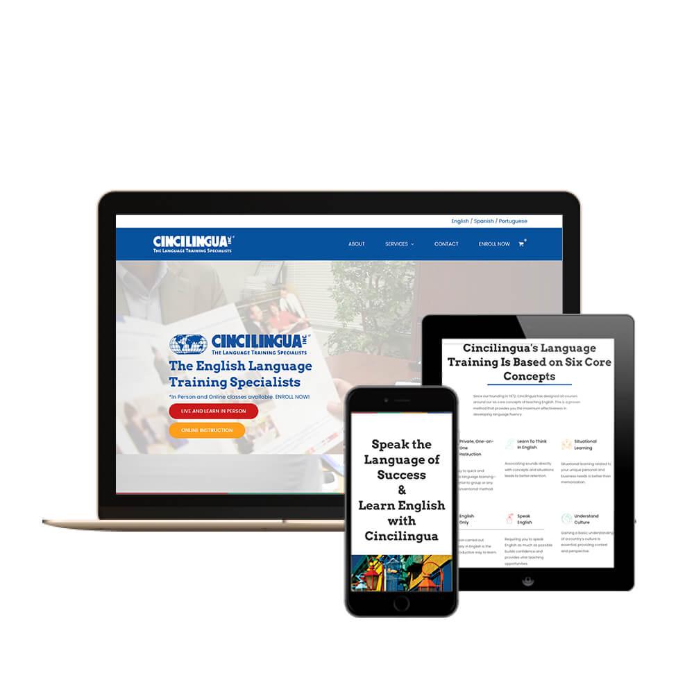Cincilingua Multilingual Site in Cincinnati, Ohio - picture of different website views - desktop, tablet, and mobile