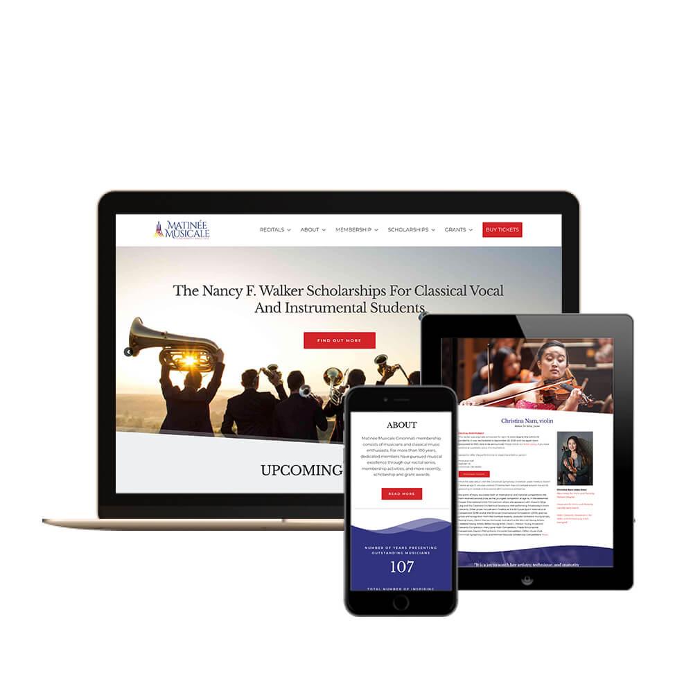 Matinee Musicale Cincinnati Non-profit website - view of desktop, tablet, and mobile views of the website