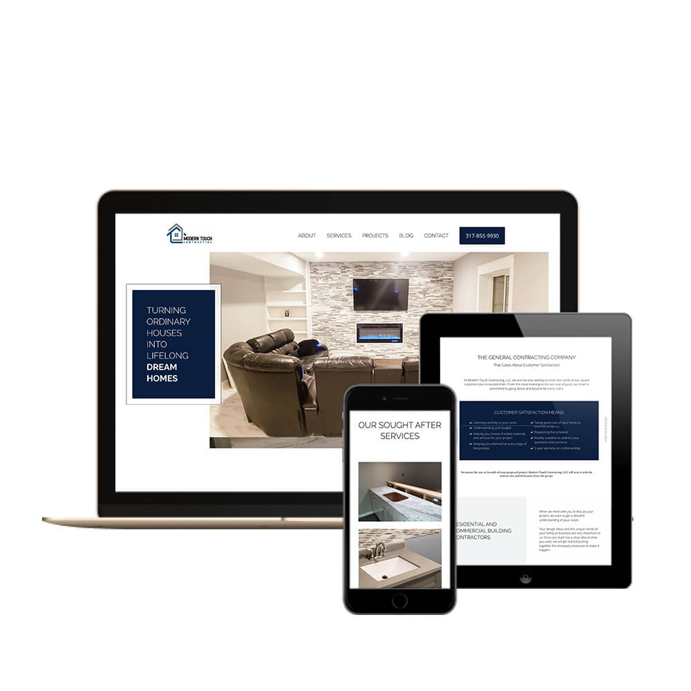 Modern Touch Contracting in Indianapolis, Indiana - desktop, tablet, and mobile view of the website