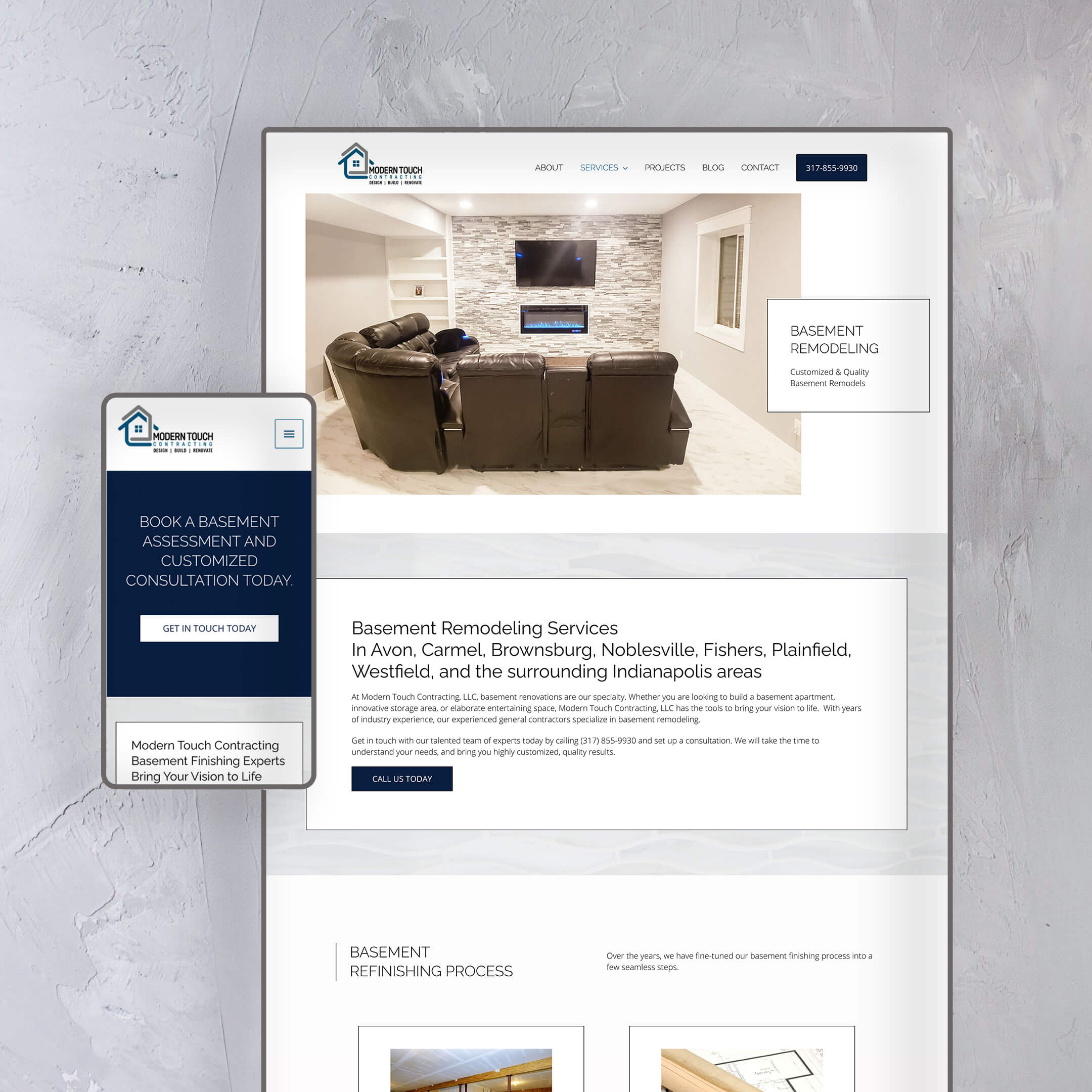 Modern Touch Contracting of Indianapolis - Construction Basement website page