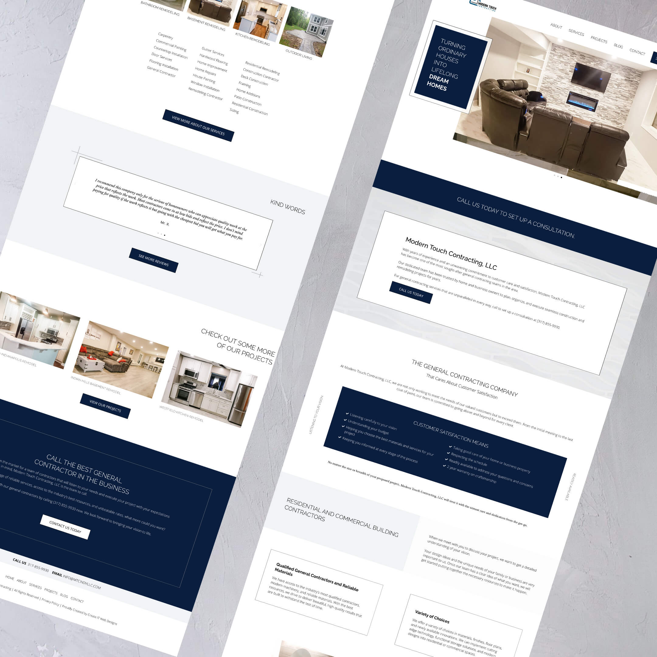 Modern Touch Contracting of Indianapolis - Construction Home website page