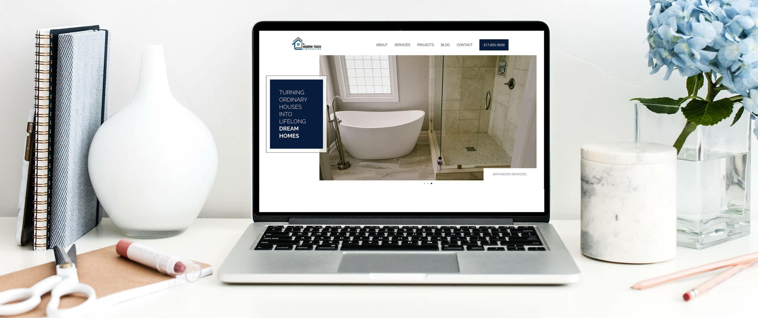 Modern Touch Contracting of Indianapolis - Construction desktop view of thehomepage website page
