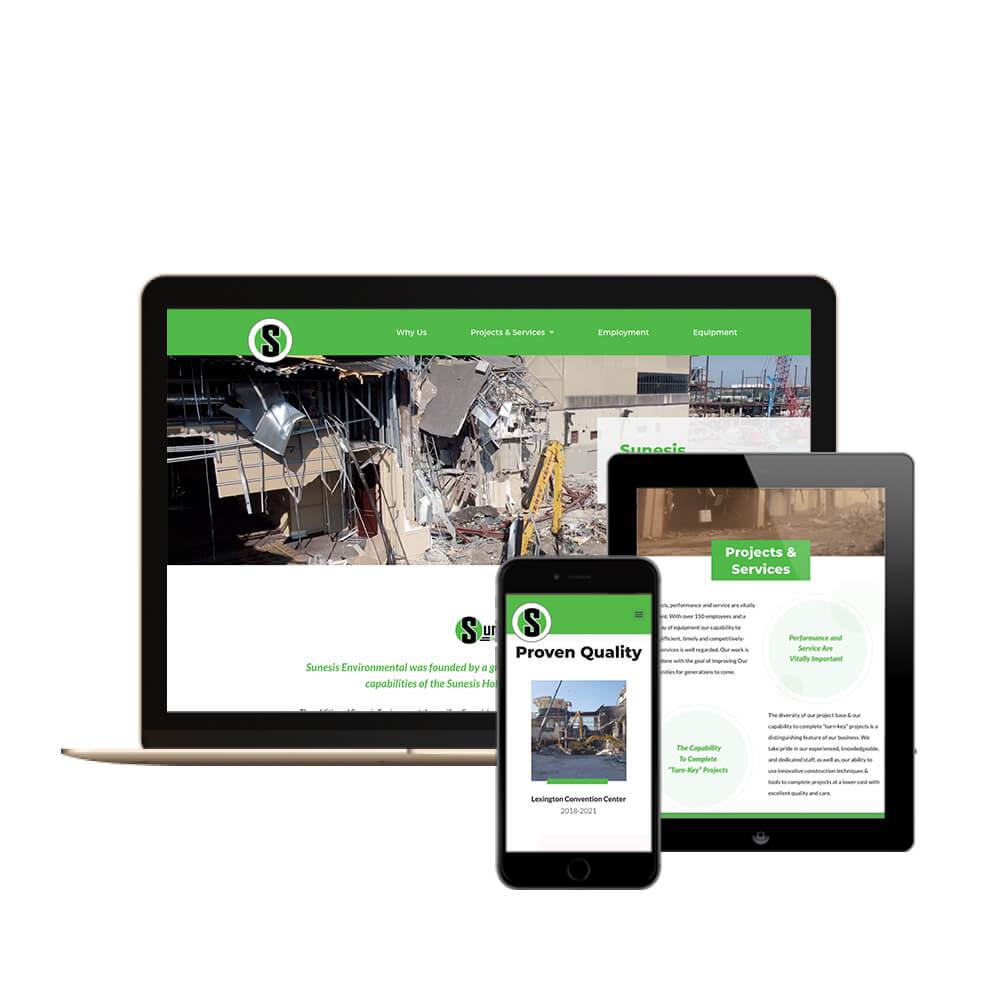 Sunesis Environmental Construction in Cincinnati, Ohio - desktop, tablet, and mobile view of the website