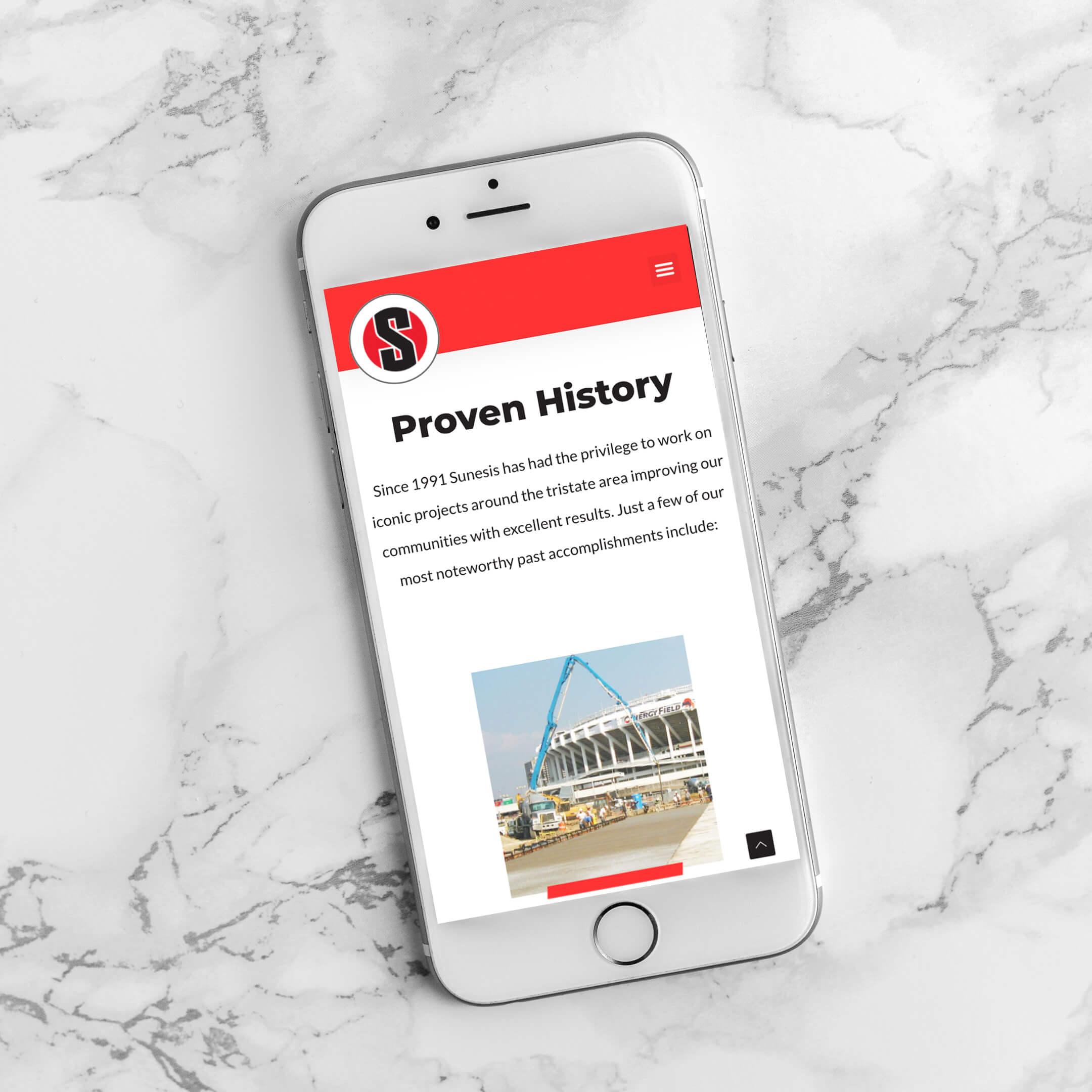 Sunesis Construction Website on mobile - Construction Website Example and Portfolio