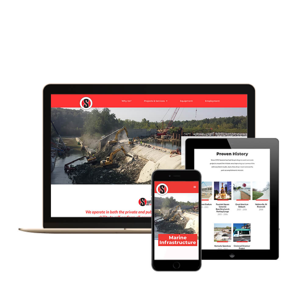 Sunesis Construction in Cincinnati, Ohio - desktop, tablet, and mobile view of the website