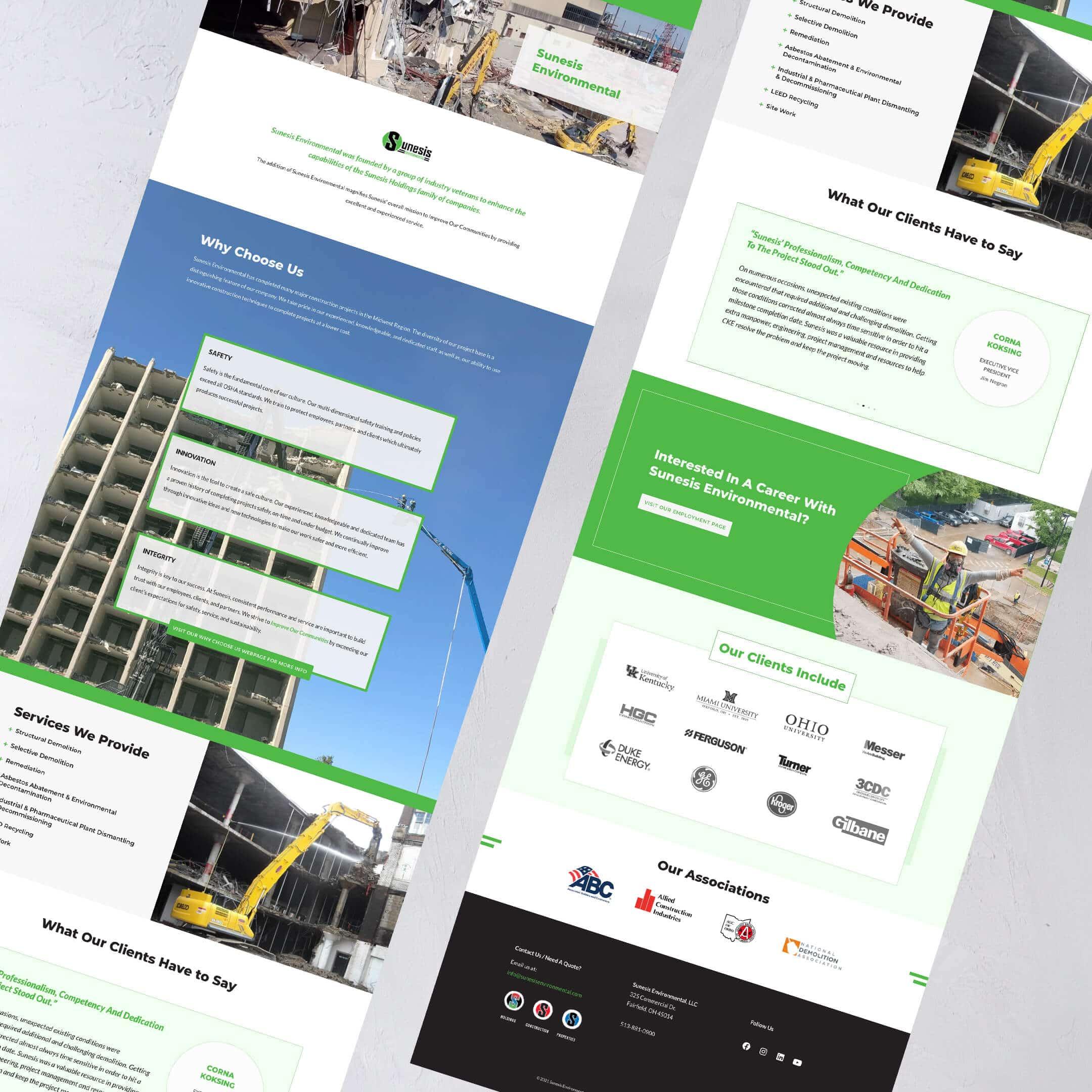 Sunesis Environmental Civil Construction Website home page - Construction Website Example and Portfolio