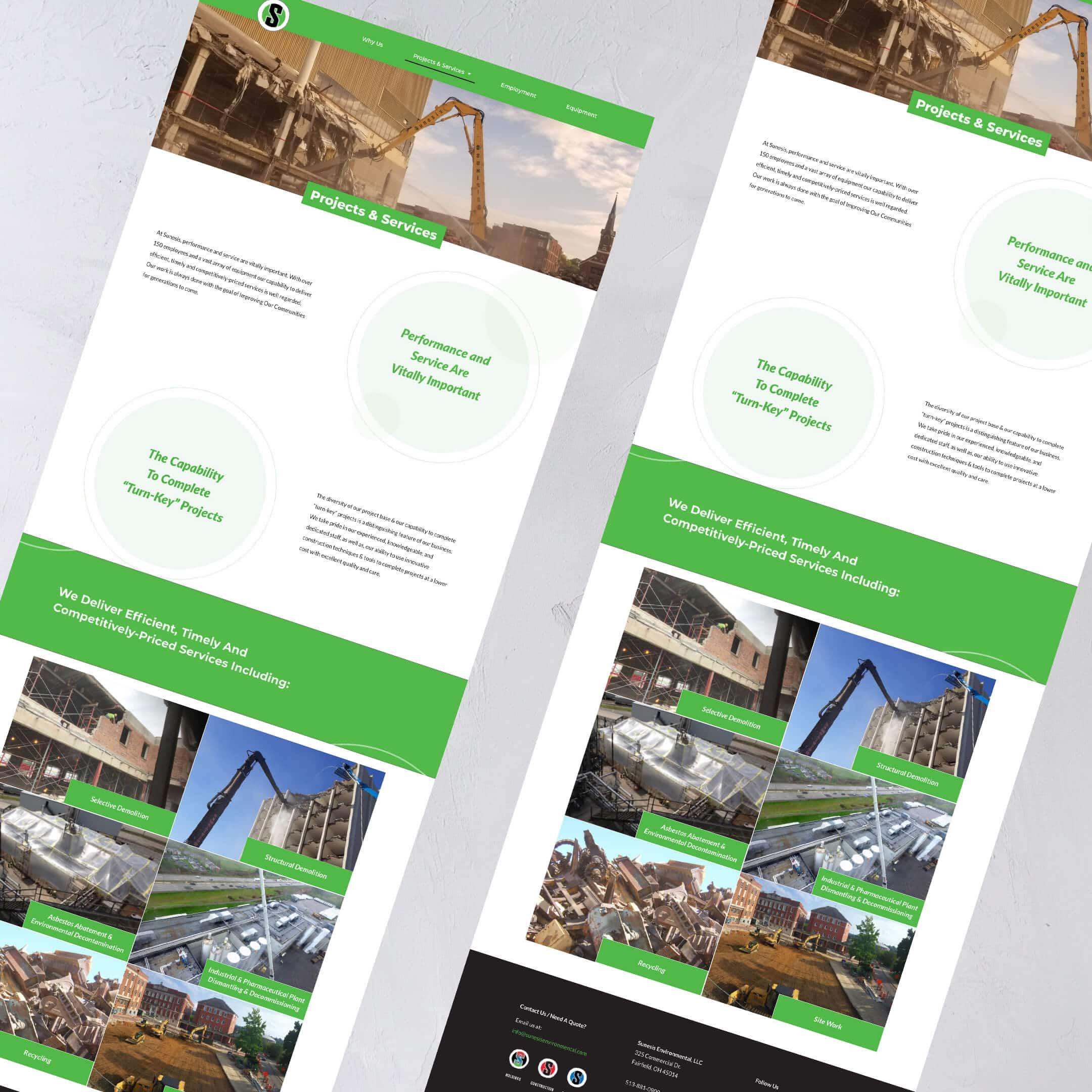 Sunesis Environmental Civil Construction Website services page - Construction Website Example and Portfolio