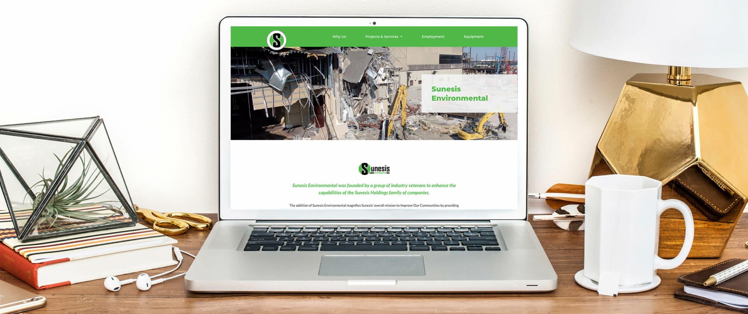 Sunesis Environmental Civil Construction Website desktop view - Construction Website Example and Portfolio