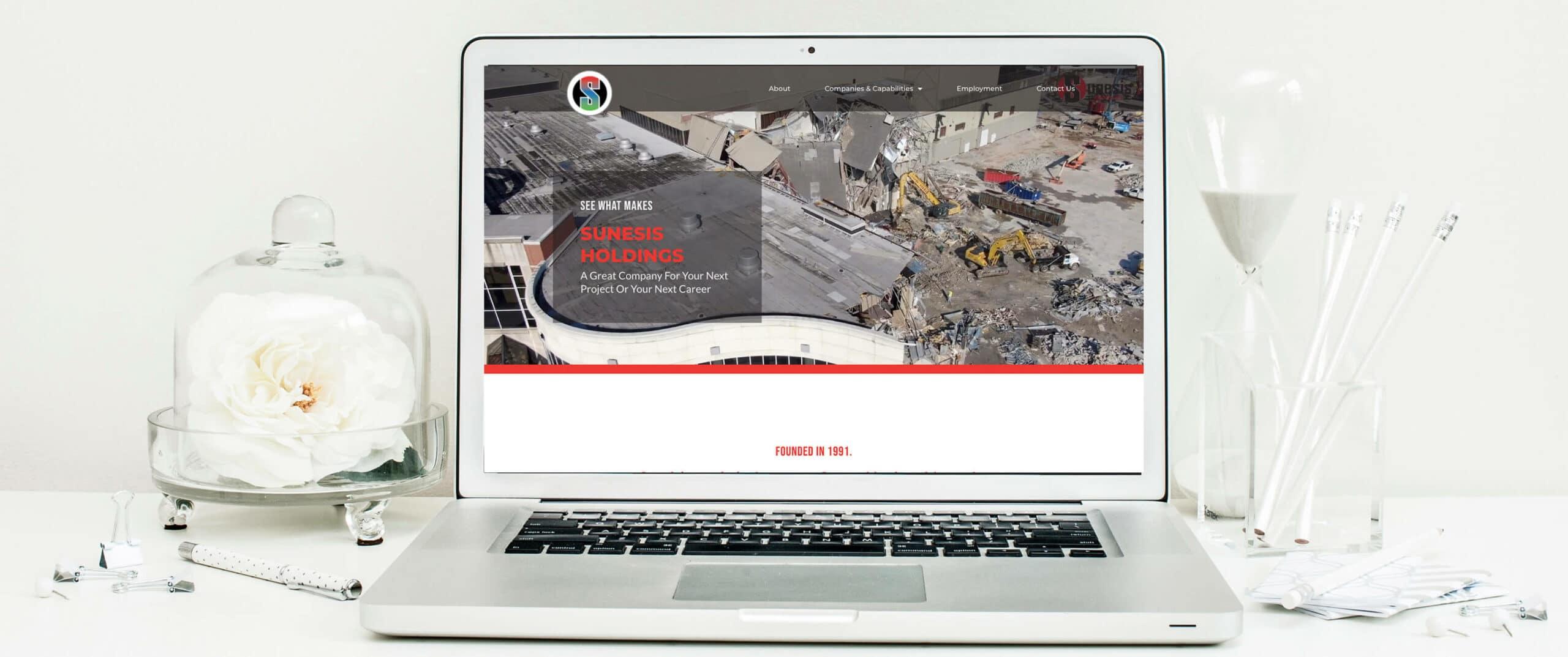 Sunesis Holdings Civil Construction Website desktop view - Construction Website Example and Portfolio - Cincinnati, Dayton, Columbus, Lexington