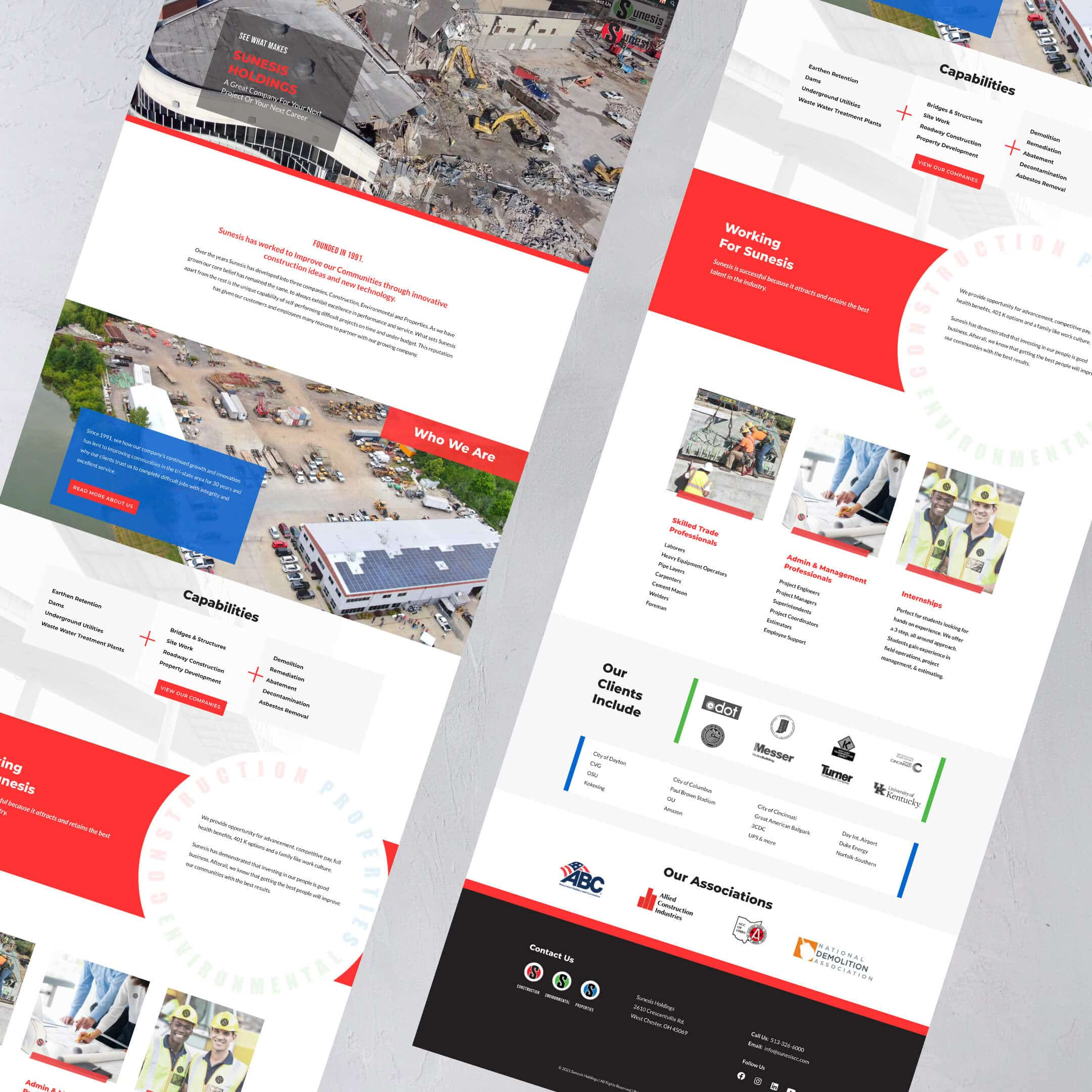 Sunesis Holdings Civil Construction Website home page view - Construction Website Example and Portfolio - Cincinnati, Dayton, Columbus, Lexington