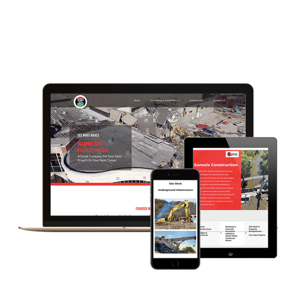 Sunesis Holdings Construction Company in Cincinnati, Ohio - desktop, tablet, and mobile view of the website