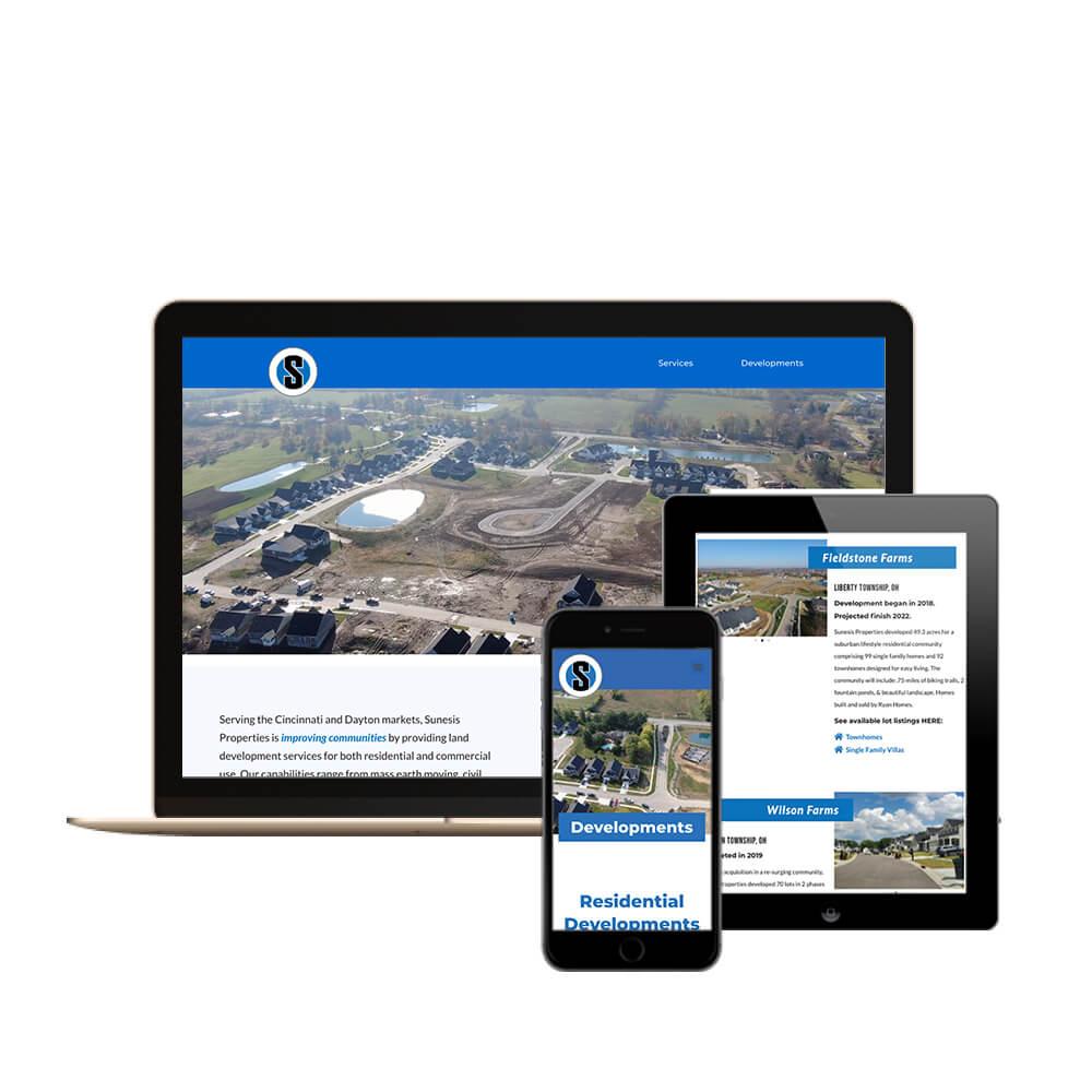 Sunesis Properties Construction Company in Cincinnati, Ohio - desktop, tablet, and mobile view of the website