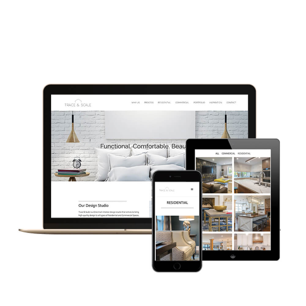 Trace and Scale Interior Design in Cincinnati, Ohio - desktop, tablet, and mobile view of the website