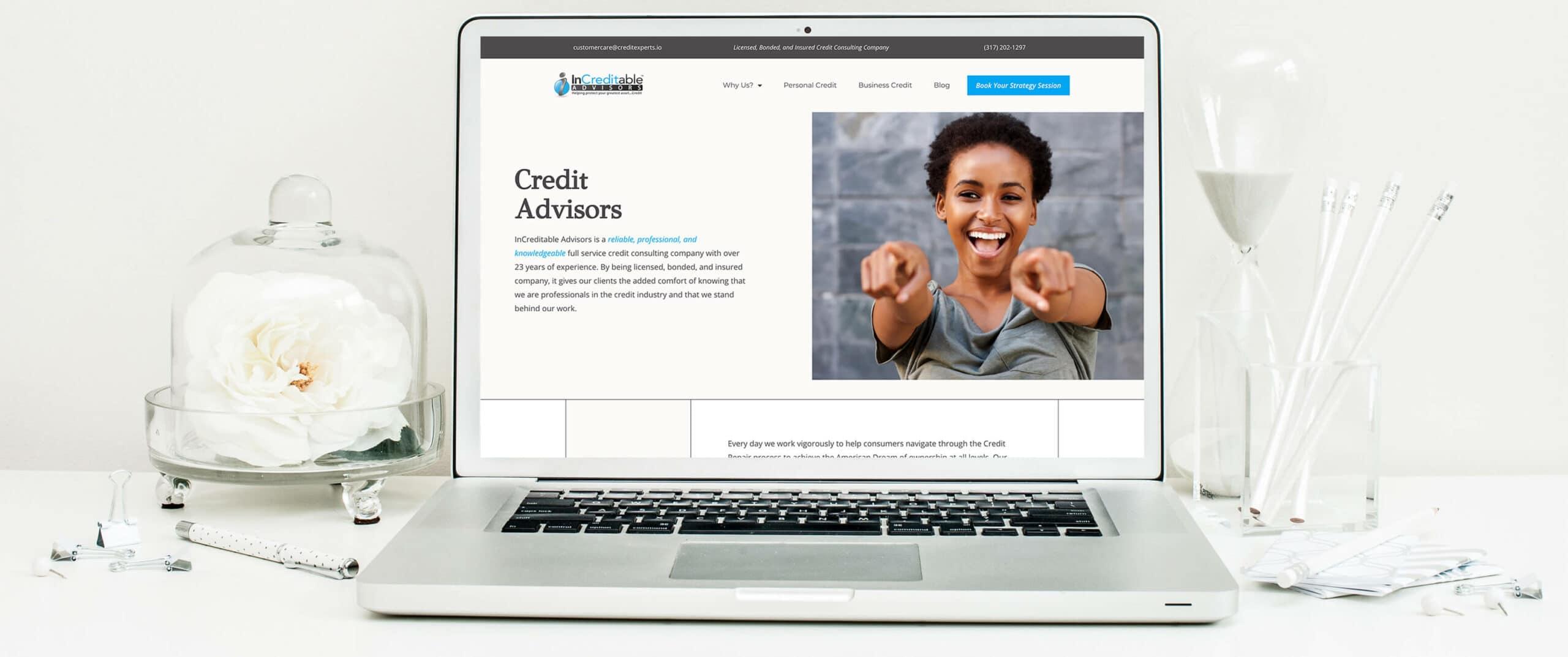 Increditable Advisors - A Financial Company Website Desktop view of website