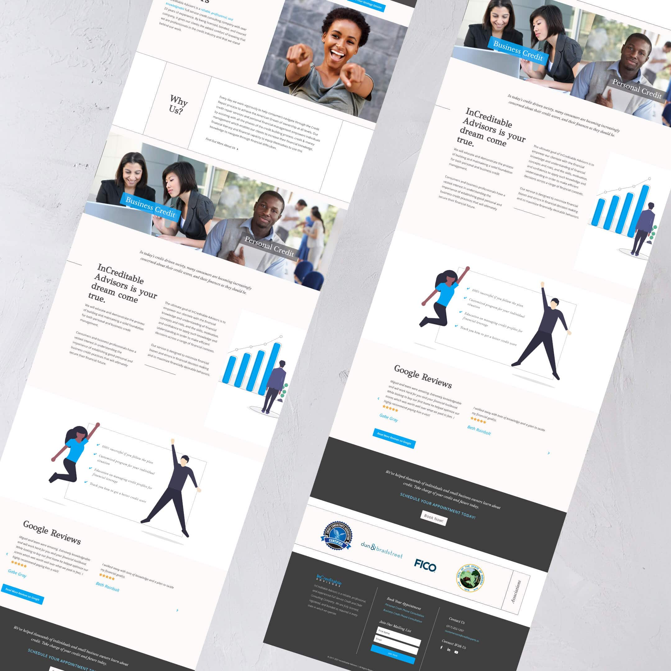 Increditable Advisors - A Financial Company Website Home page view of website