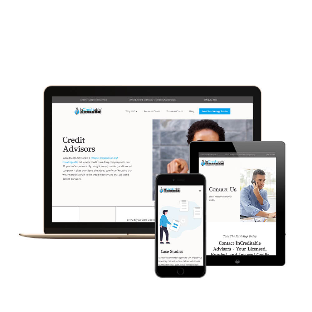 Increditable Advisors - A Financial Company Website Desktop, Tablet, and mobile view of website